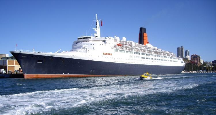 Queen Elizabeth 2 docked at Garden Island Naval Base Sydney