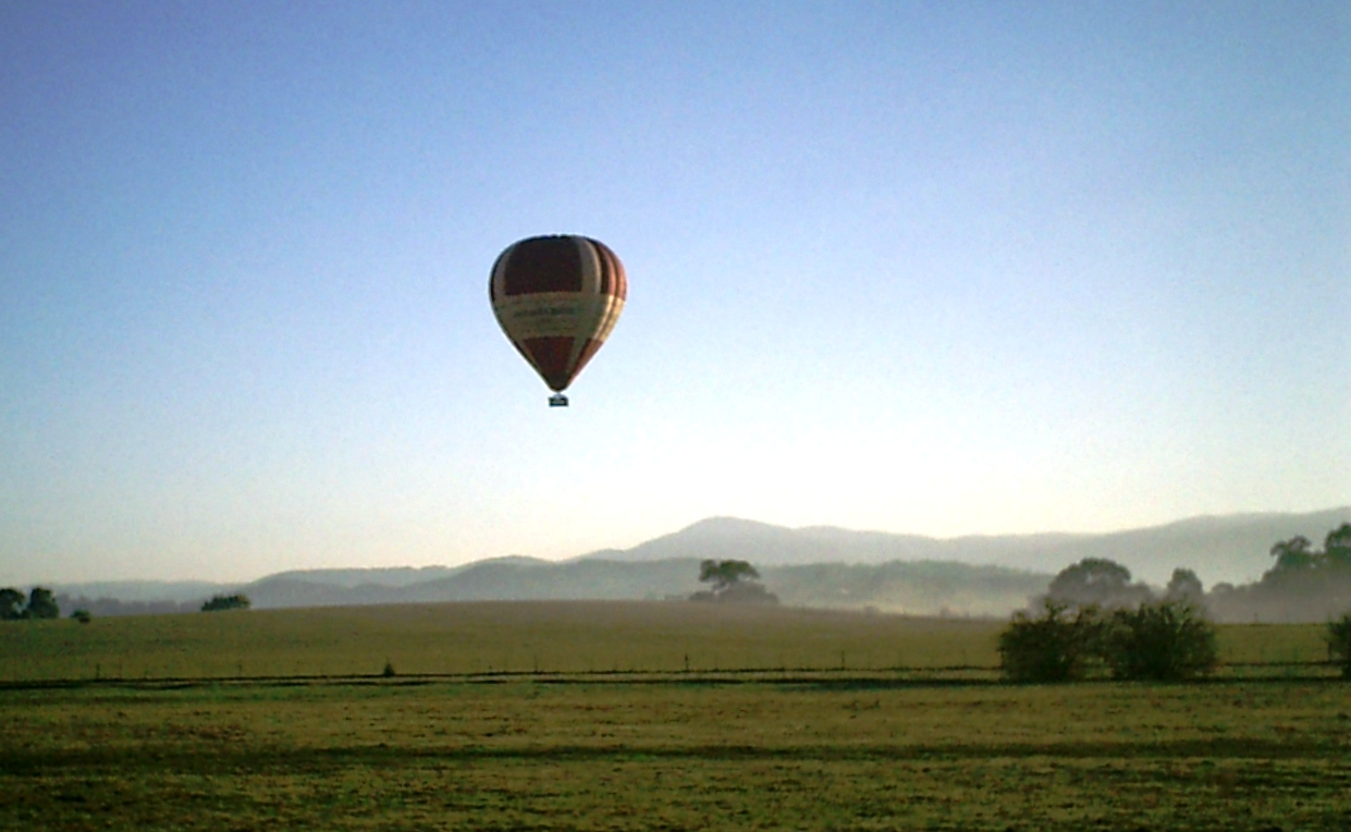 Another Hot Air Balloon Comes in to Land